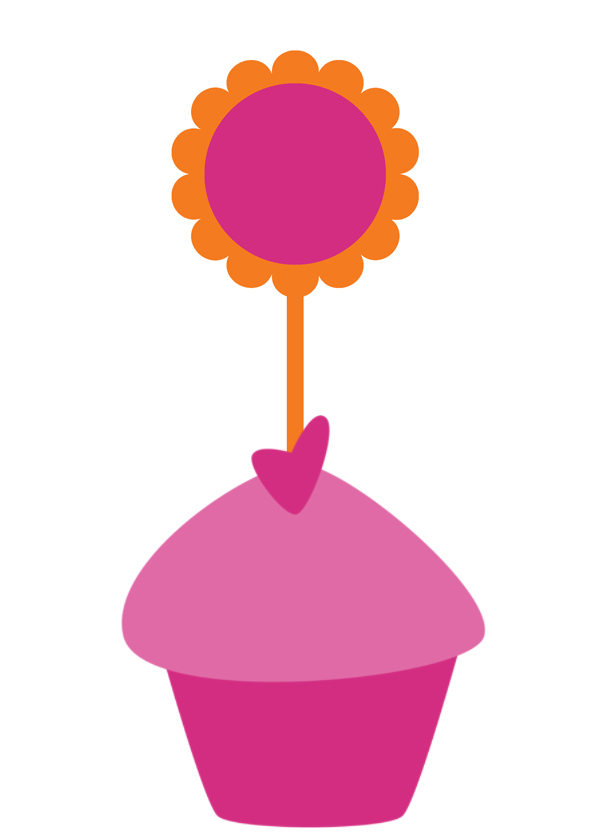 Free Cupcake Toppers Tangerine and Pink Printable's