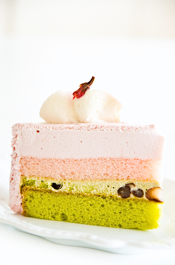 easy desserts & recipes: cherry blossom and matcha layer cake (entremet)